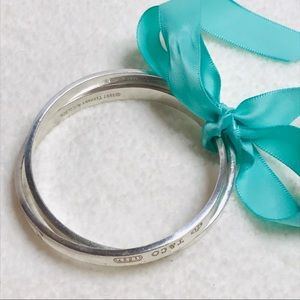"Tiffany & Co Silver 1837 Double Bangle Bracelet 8"""